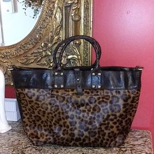 0708 Patricia Nash Emilion Haircalf Leopard Tote